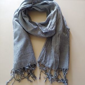 H & M Blue and White Checked Scarf or Wrap